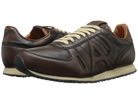 Armani Jeans - Vintage Leather Trainer (Brown) Men's Lace up casual Shoes
