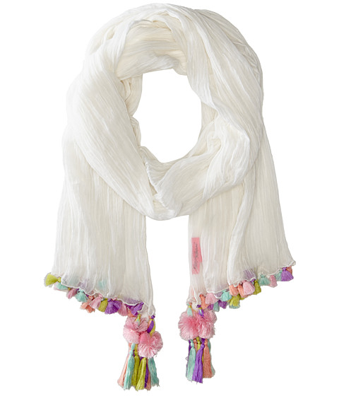 Betsey Johnson - Neon Tassel Wrap (White) Scarves
