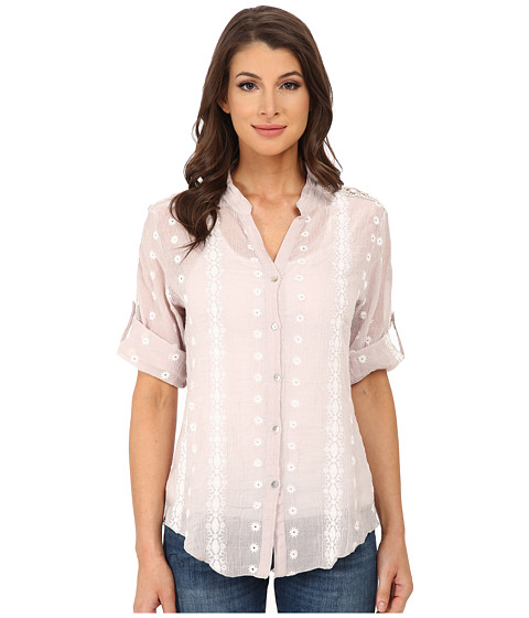 Dylan by True Grit - Roll Sleeve Embroidered Shirt (Pale Grey) Women