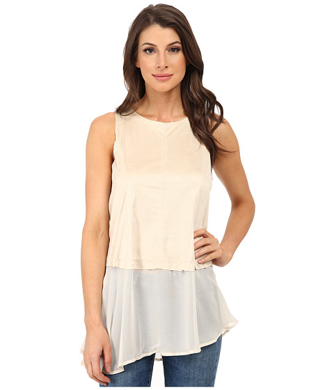 Dylan by True Grit - Sleeveless Peplum Back Zipper (Pearl) Women's Blouse