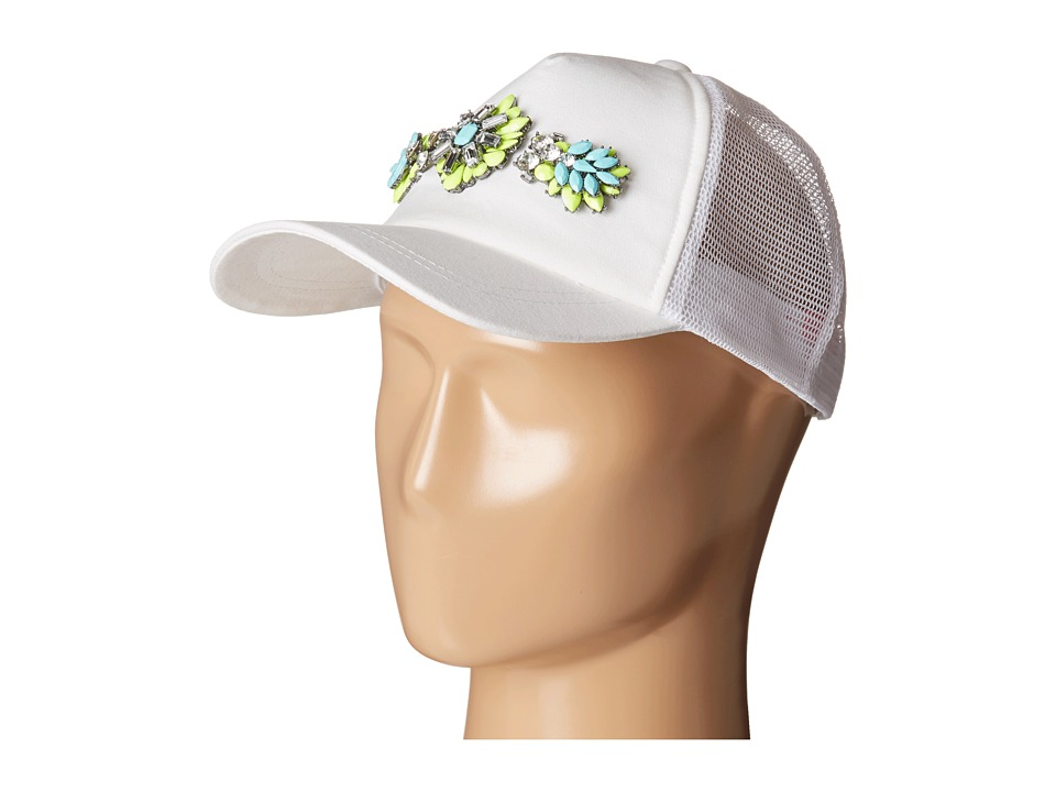 Betsey Johnson - 2 Color Jewel Embellished Hat (Green/White) Caps