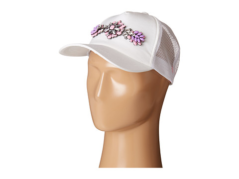 Betsey Johnson - 2 Color Jewel Embellished Hat (Pink/White) Caps