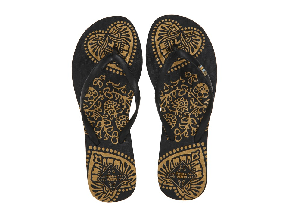 Freewaters - Tropea Print (Black/Gold Print) Women's Shoes