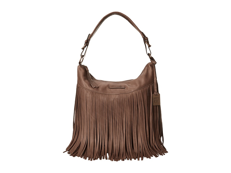 Frye - Heidi Fringe Hobo (Grey Soft Vintage Leather) Hobo Handbags