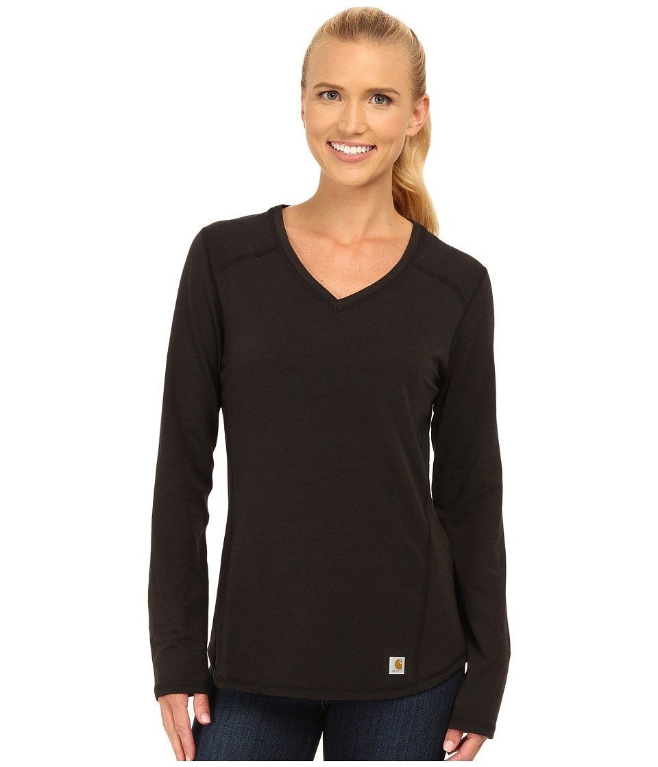 Carhartt - Force Long Sleeve V-Neck T-Shirt (Black) Women's Long Sleeve Pullover