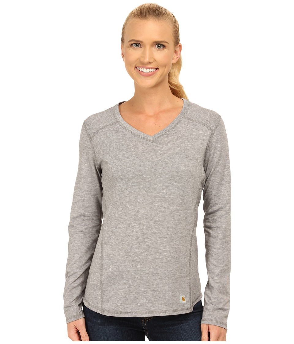 Carhartt - Force Long Sleeve V-Neck T-Shirt (Asphalt Heather) Women's Long Sleeve Pullover