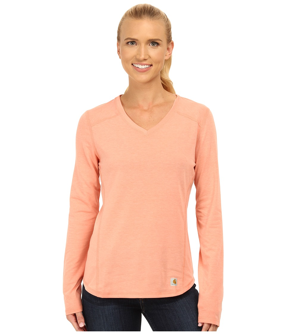 Carhartt - Force Long Sleeve V-Neck T-Shirt (Burnt Coral Heather) Women's Long Sleeve Pullover