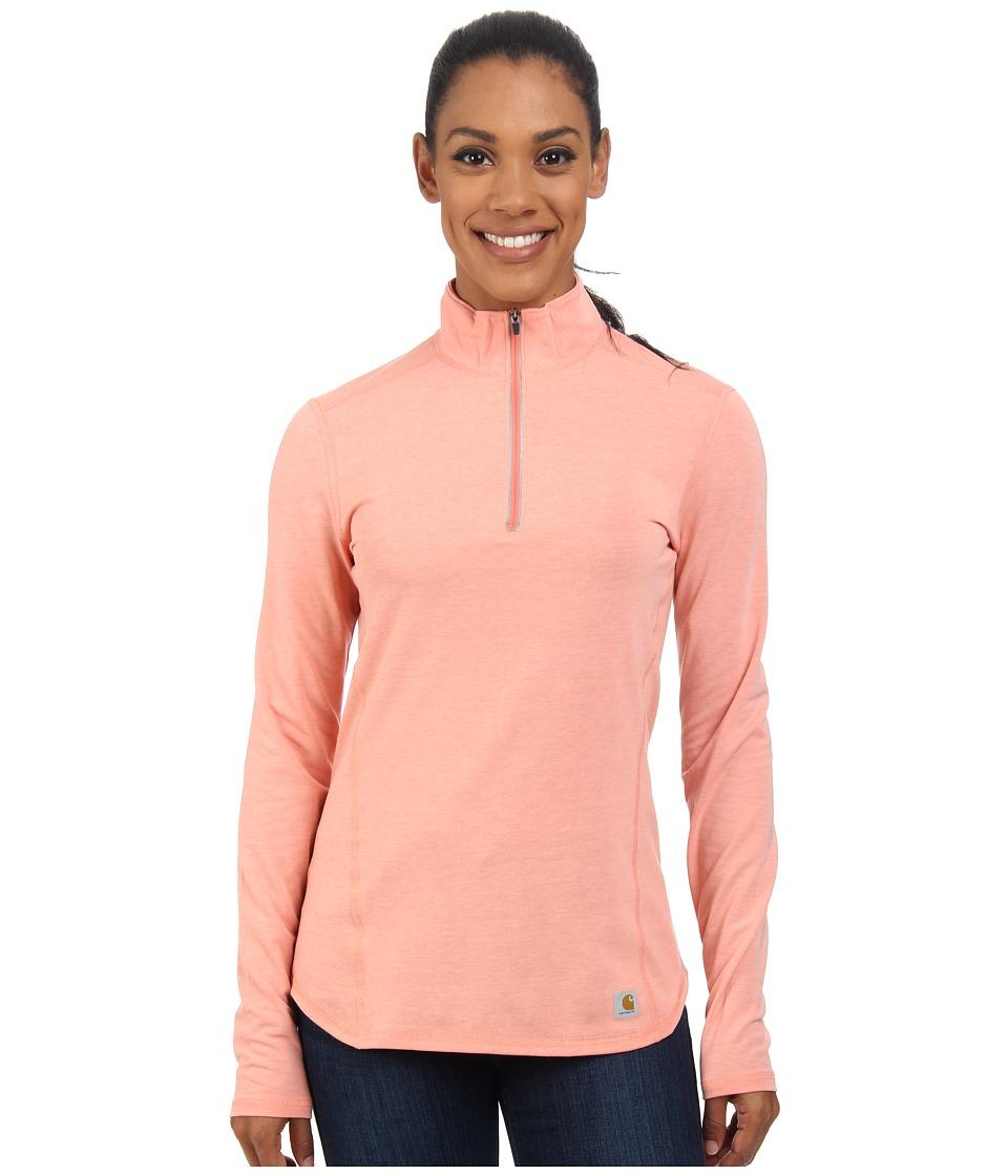 Carhartt - Force Quarter Zip Shirt (Burnt Coral Heather) Women's Long Sleeve Pullover