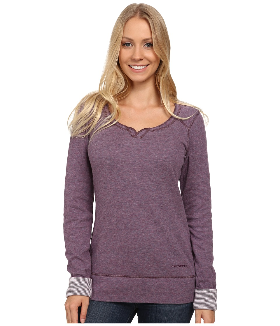 Carhartt - Pondera Scoop Neck Shirt (Purple Sage Heather) Women's Long Sleeve Pullover