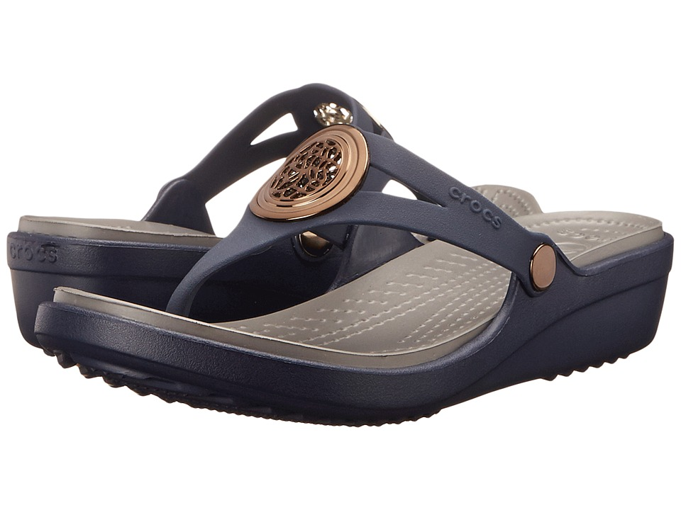 Crocs - Sanrah Circle Wedge Flip (Navy/Smoke) Women's Wedge Shoes