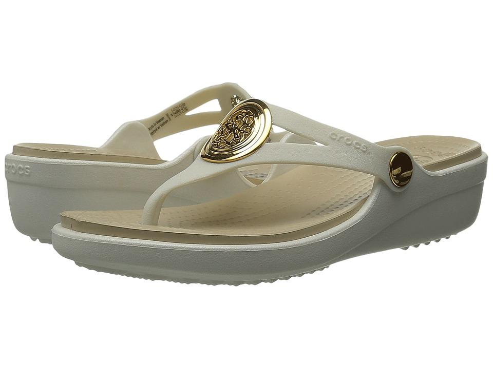 Crocs - Sanrah Circle Wedge Flip (Oyster/Chai) Women's Wedge Shoes