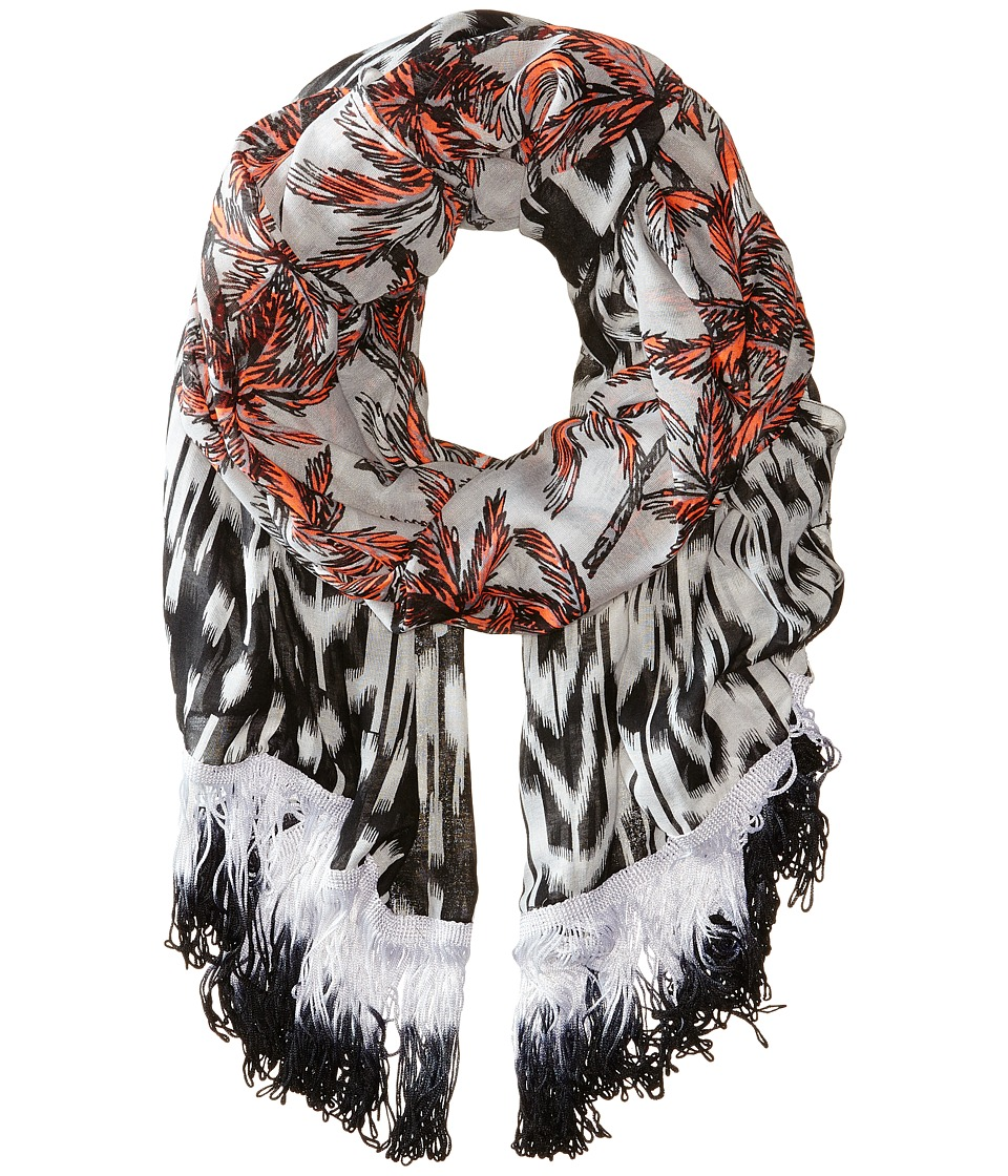 Steve Madden - Ikat Border Palm Trees Day Wrap (Silver) Scarves