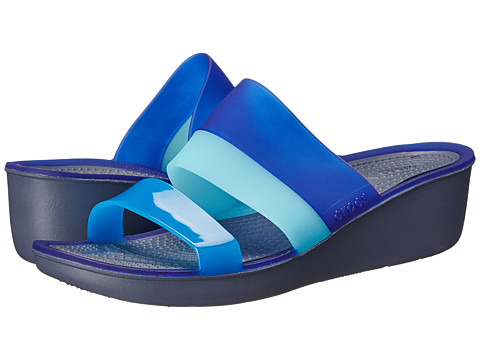 Crocs - Color Block Translucent Mini Wedge (Storm/Cerulean Blue) Women