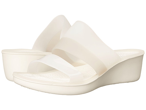 Crocs - Color Block Translucent Mini Wedge (White/Platinum) Women