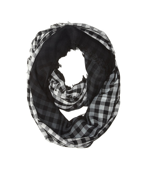 Steve Madden - Dip Dyed Gingham Infinity Scarf (Black) Scarves