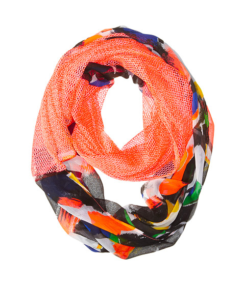 Steve Madden - Different Stroke Half and Half Infinity Scarf (Neon Coral) Scarves