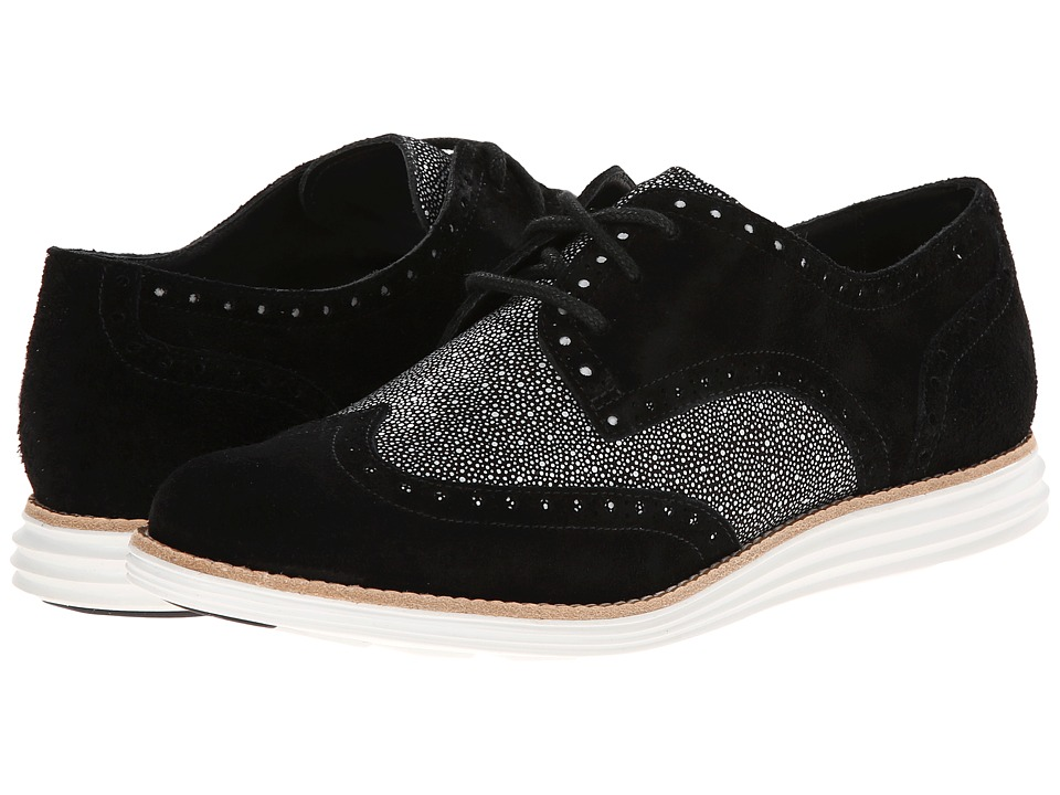 Cole Haan - LunarGrand Wing Tip (Black Suede) Women's Lace Up Wing Tip Shoes