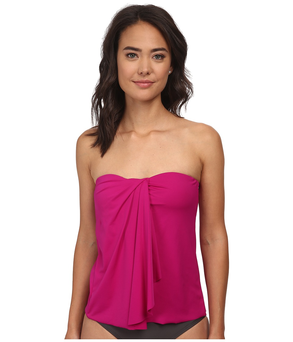 LAUREN by Ralph Lauren - Laguna Solids Wrap Tubini Top (Pink Hibiscus) Women's Swimwear
