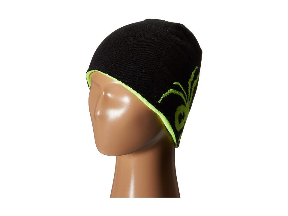 Spyder Kids - Reversible Bug Hat (Big Kids) (Black/Bryte Yellow) Beanies