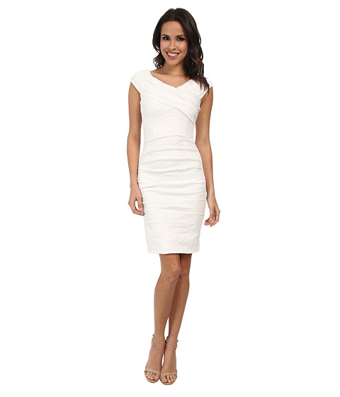 Nicole Miller - Stewart Cross Front Dress (White) Women's Dress