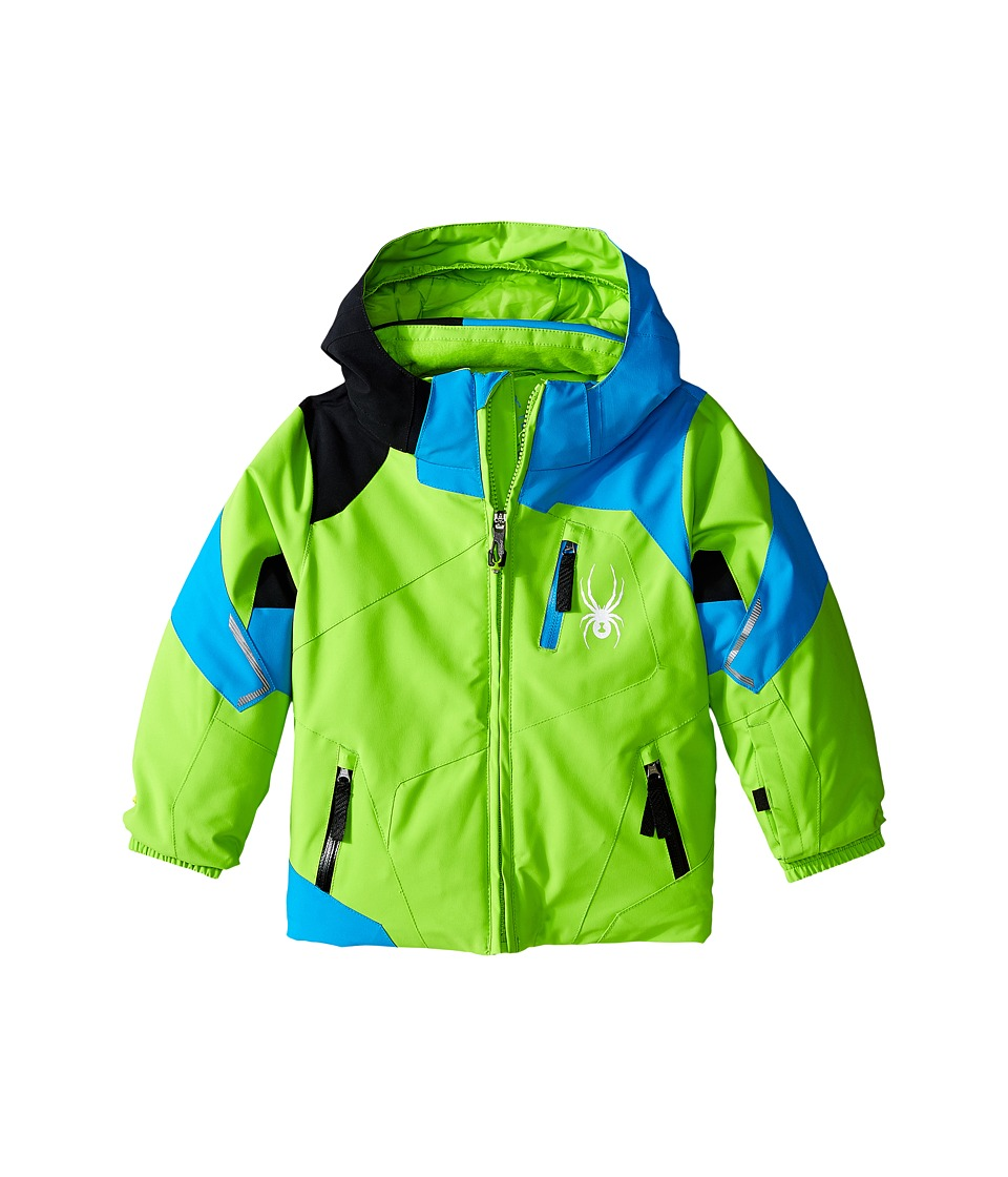 Spyder Kids - Mini Leader Jacket (Toddler/Little Kids/Big Kids) (Theory Green/Electric Blue/Black) Boy's Coat
