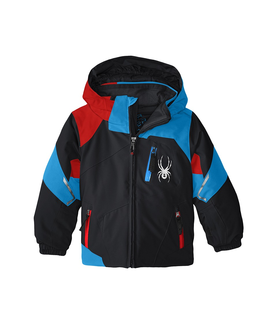 Spyder Kids - Mini Leader Jacket (Toddler/Little Kids/Big Kids) (Black/Electric Blue/Volcano) Boy's Coat