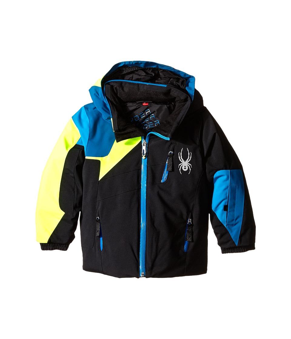 Spyder Kids - Mini Avenger Jacket (Toddler/Little Kids/Big Kids) (Black/Concept Blue/Bryte Yellow) Boy's Coat
