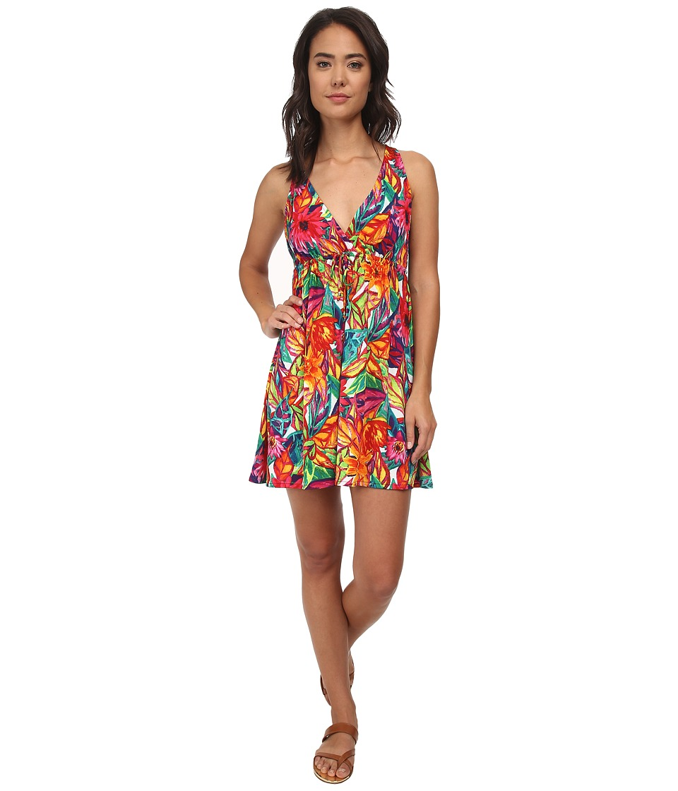 LAUREN by Ralph Lauren - Polynesian Floral Surplice Halter Dress Cover-Up (Multi) Women's Swimwear