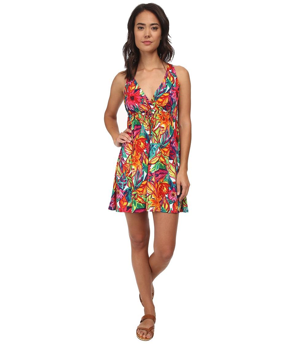 LAUREN by Ralph Lauren - Polynesian Floral Surplice Halter Dress Cover-Up (Multi) Women