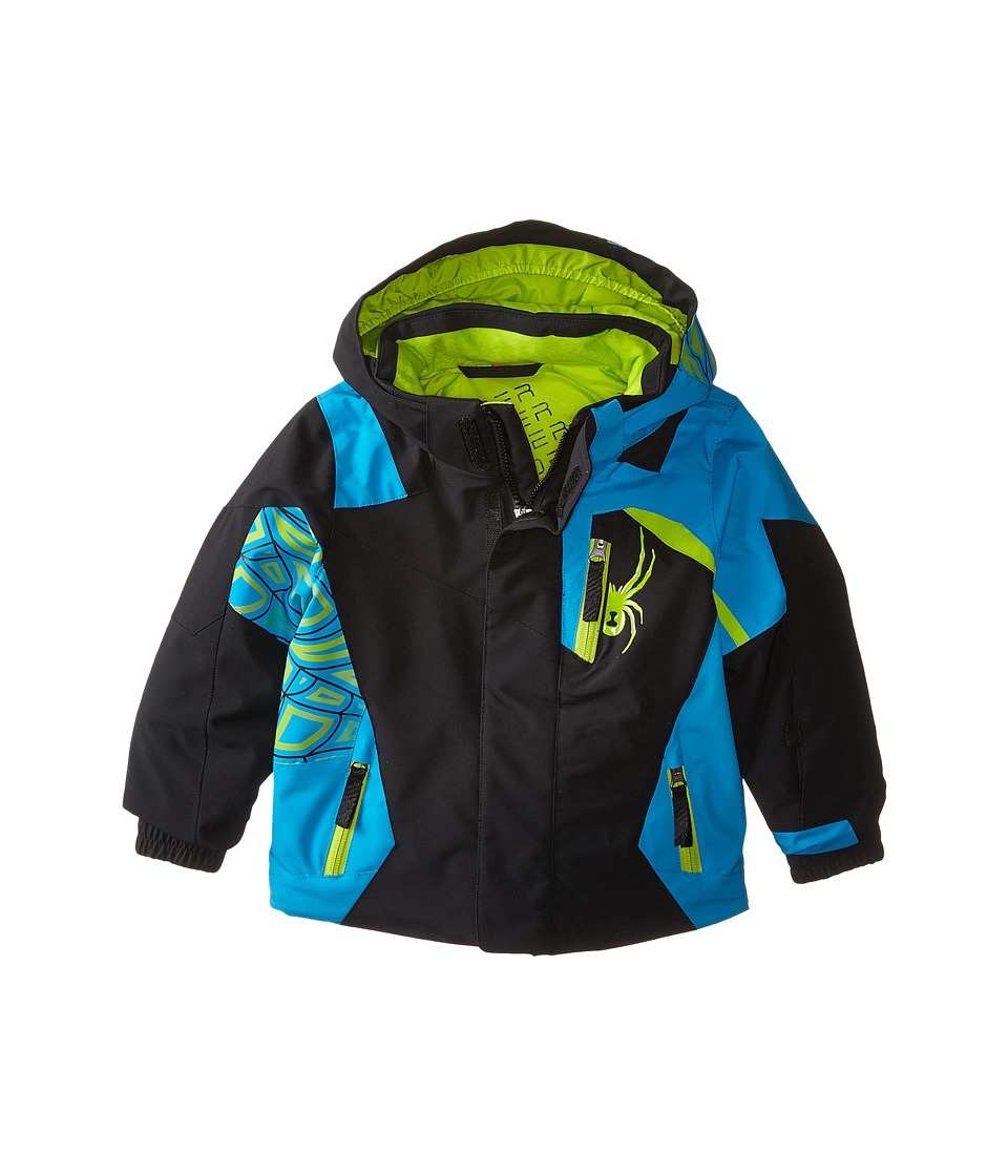 Spyder Kids - Mini Challenger Jacket (Toddler/Little Kids/Big Kids) (Black/Electric Blue/Theory Green) Boy's Coat