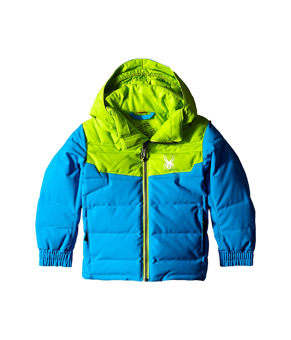 Spyder Kids - Mini Clutch Down Jacket (Toddler/Little Kids/Big Kids) (Electric Blue/Theory Green) Boy's Coat