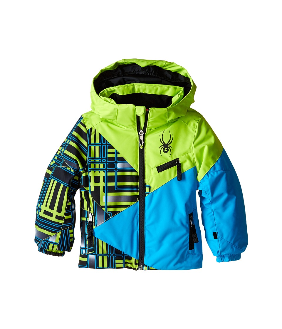 Spyder Kids - Mini Ambush Jacket (Toddler/Little Kids/Big Kids) (Theory Green Routed Print/Theory Green/Electric Blue) Boy's Coat