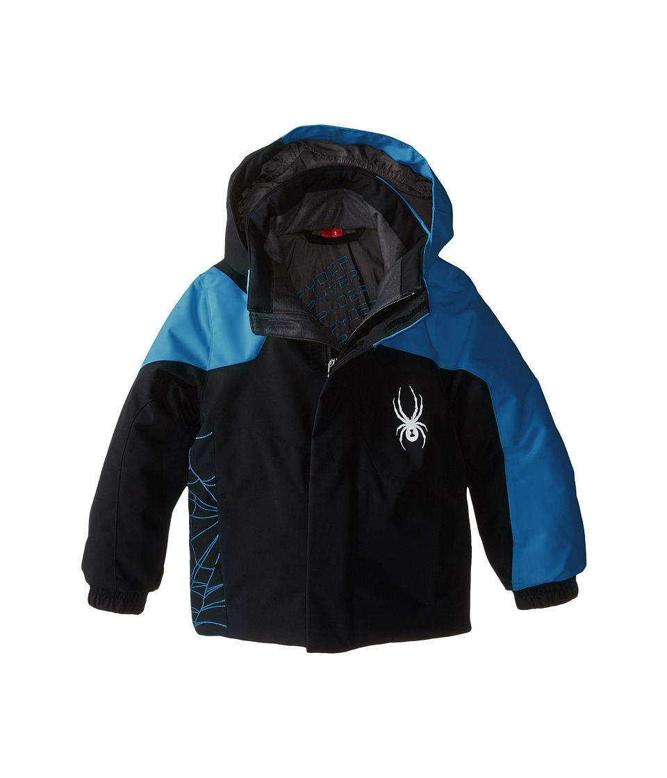 Spyder Kids - Mini Guard Jacket (Toddler/Little Kids/Big Kids) (Black/Concept Blue) Boy's Coat