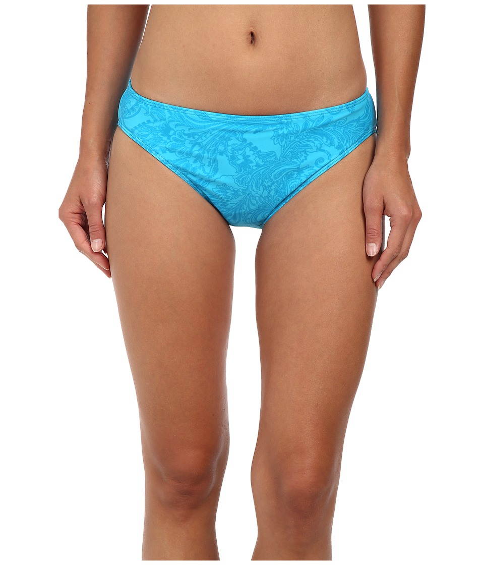 LAUREN Ralph Lauren - Engineered Scarf Print Hipster Bottom w/ Logo Plate (Turquoise Ocean) Women's Swimwear