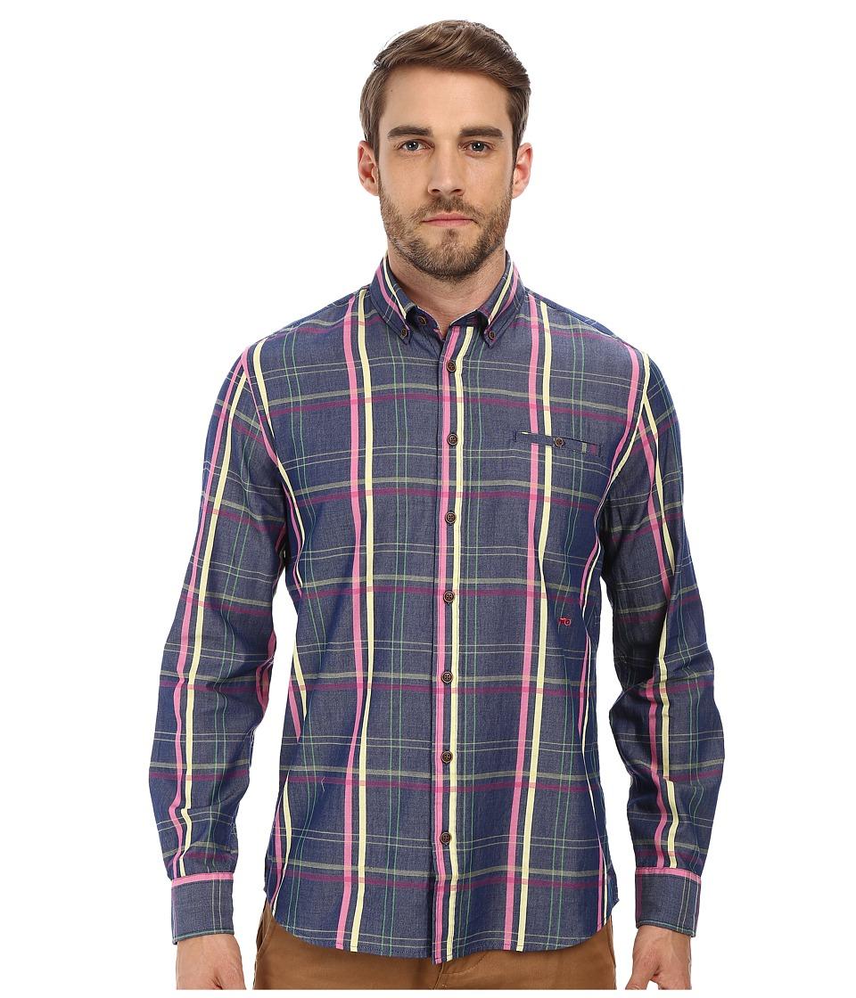 Moods of Norway - Arne Vik Long Collar Shirt 151110 (Mid Blue) Men's Long Sleeve Button Up