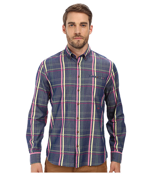 Moods of Norway - Arne Vik Long Collar Shirt 151110 (Mid Blue) Men's Long Sleeve Button Up