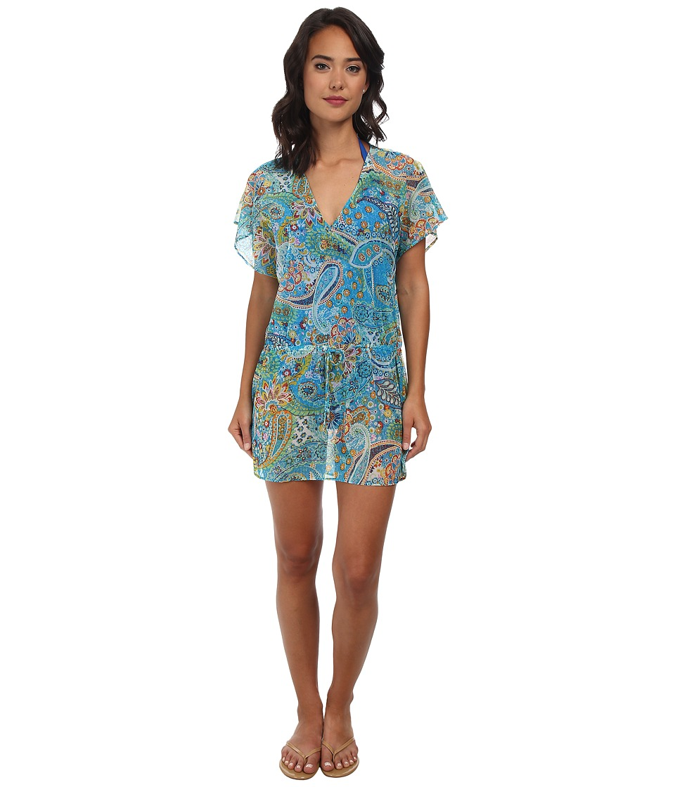 LAUREN Ralph Lauren - Maldives Paisley Poolside Tunic Cover-Up (Turq Multi) Women's Swimwear