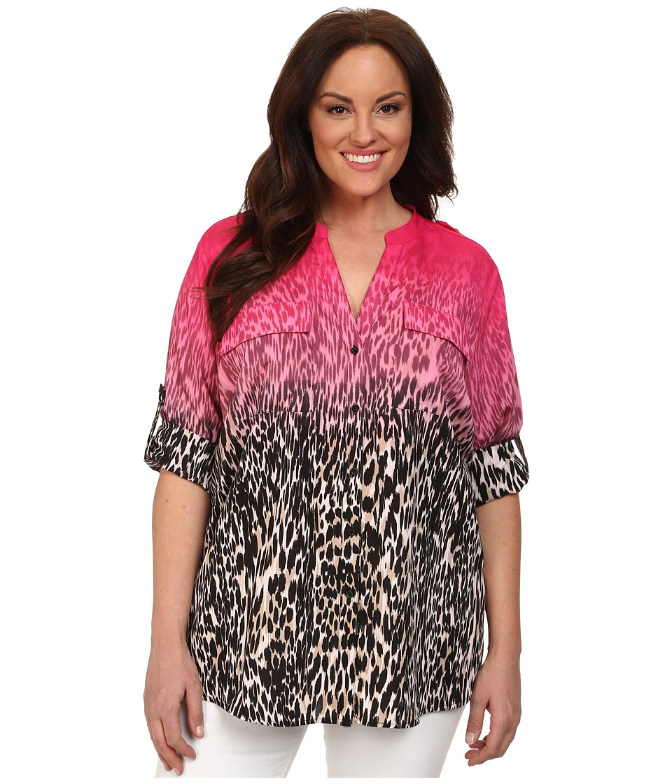 Calvin Klein Plus - Plus Size Print Crew Neck Roll Sleeve (Black/Hibiscus Multi) Women's Blouse