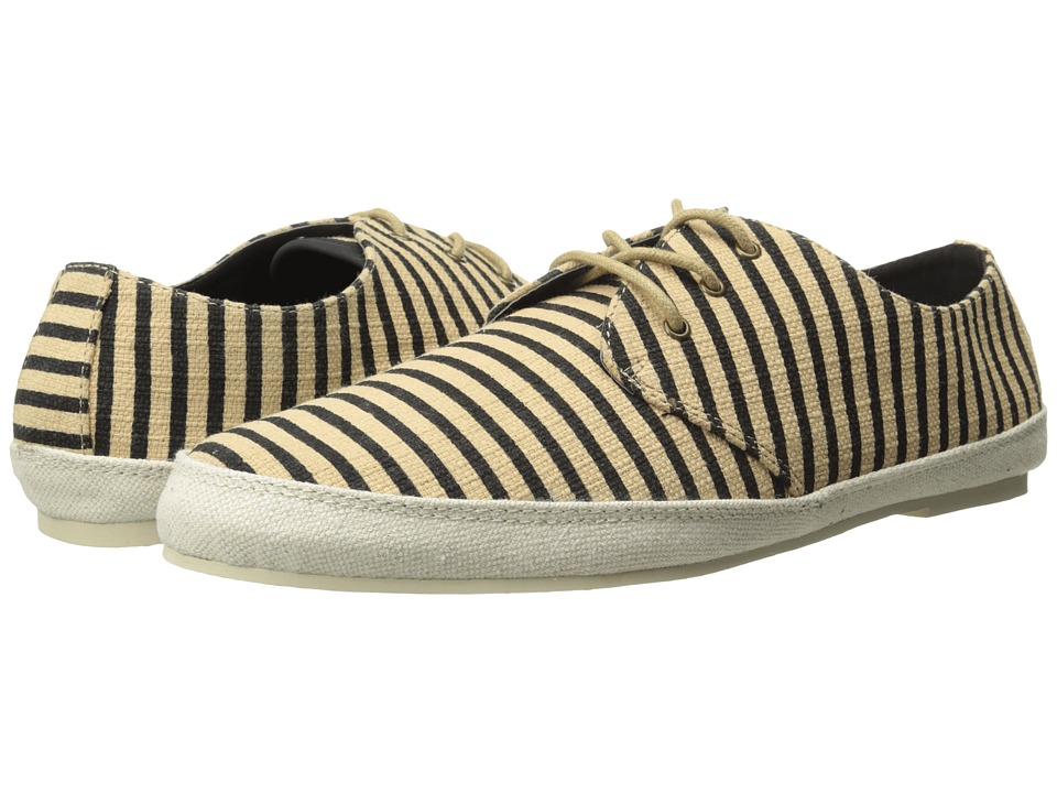 Scotch & Soda - Structured Stripe Weave Loafers (Black/Beige) Men's Slip on Shoes