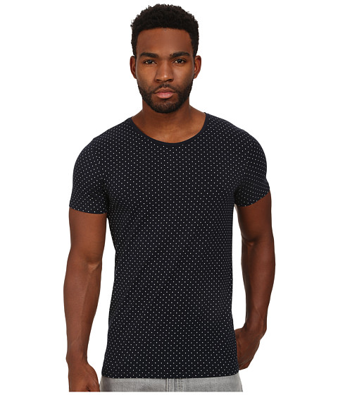 Scotch & Soda - Polka Dot High Crew Neck Tee (Navy) Men