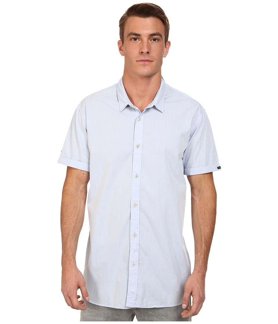 Scotch & Soda - Short Sleeve Crispy Poplin Shirt (Blue) Men's Short Sleeve Button Up