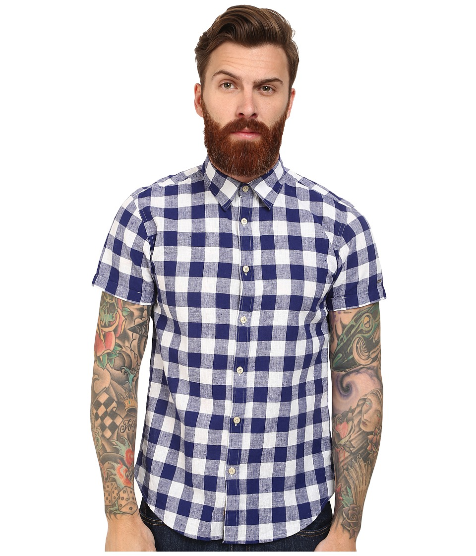 Scotch & Soda - Short Sleeve Linen Check Shirt (Blue/White) Men's Clothing