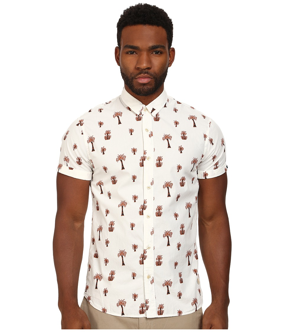 Scotch & Soda - Short Sleeve Printed Poplin Shirt (White) Men's Short Sleeve Button Up