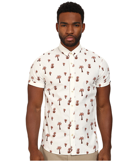Scotch & Soda - Short Sleeve Printed Poplin Shirt (White) Men