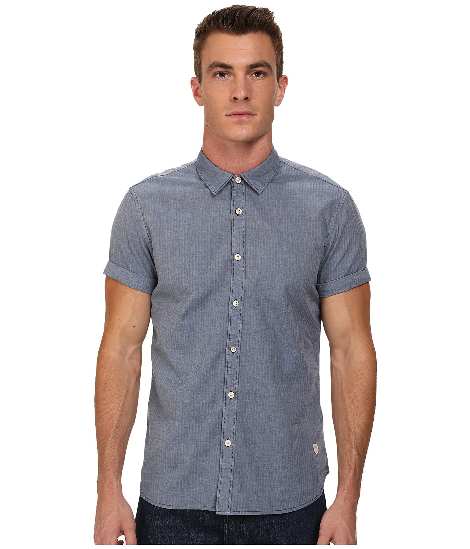 Scotch & Soda - Short Sleeve Herringbone Shirt (Blue) Men's Clothing