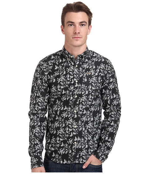 Scotch & Soda - Lightweight Floral Oxford Button Down (Black) Men's Long Sleeve Button Up
