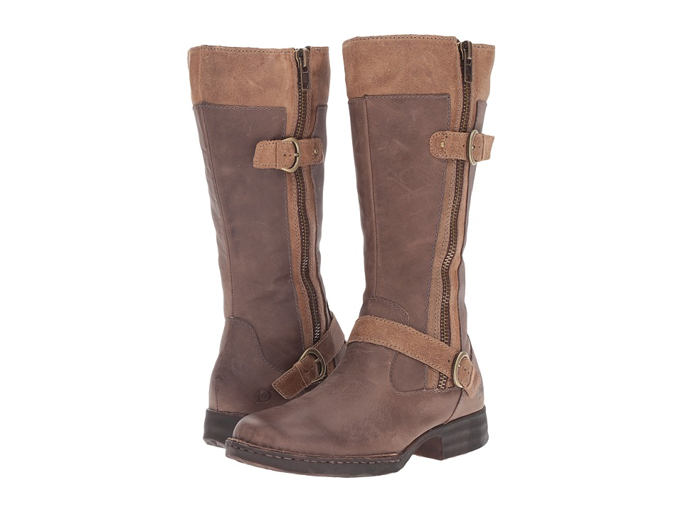 Born - Kendell (Phard/Dark Taupe/Taupe Full Grain Leather) Women's Zip Boots