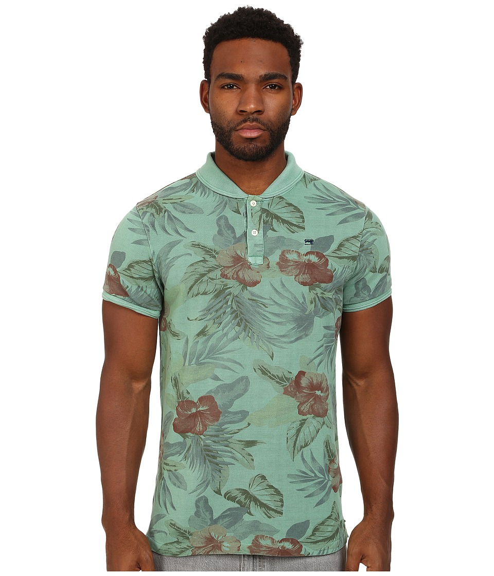Scotch & Soda - Floral Polo with Bomber Collar (Green) Men's Clothing