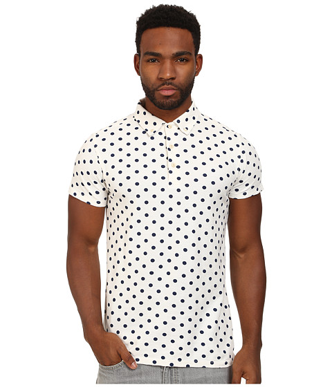 Scotch & Soda - Printed Polka Dot Polo (White) Men's Clothing