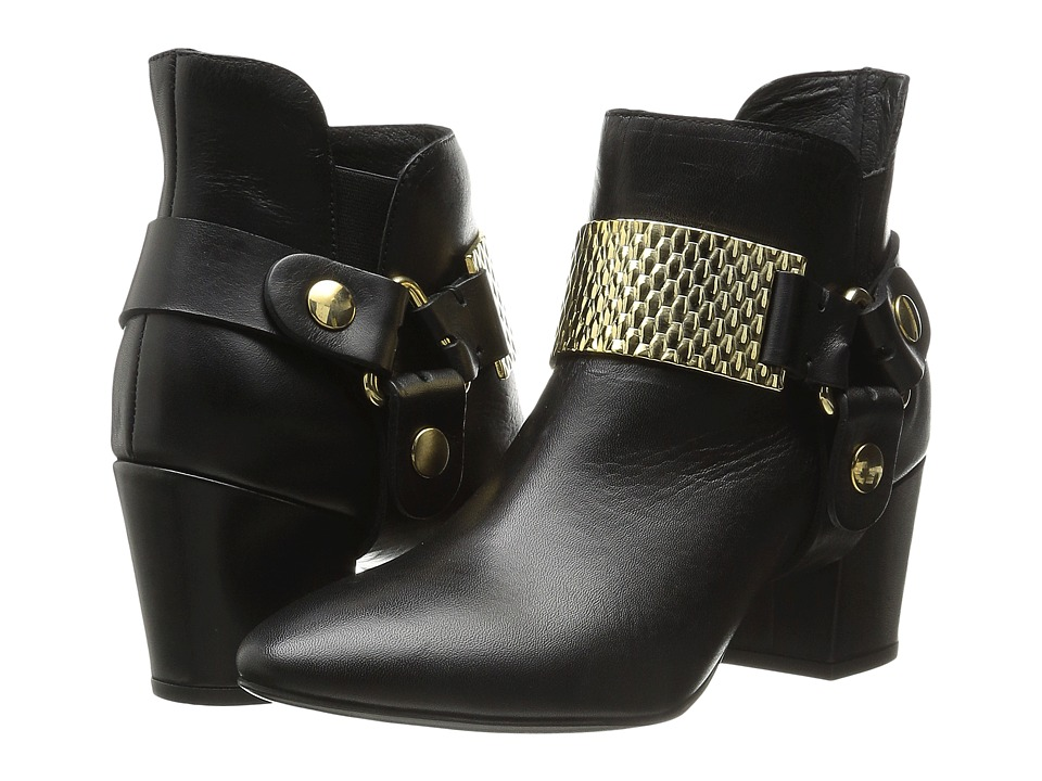 Just Cavalli Low Heel Bootie with Gold Hardware (Black) Women